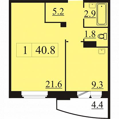Планировка Однокомнатная квартира площадью 40.8 кв.м в ЖК «Северная Регата»