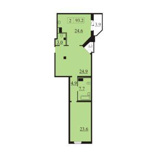 Планировка Двухкомнатная квартира площадью 93.2 кв.м в ЖК «Северная Регата»