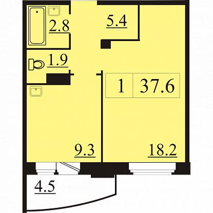 Планировка Однокомнатная квартира площадью 37.6 кв.м в ЖК «Северная Регата»