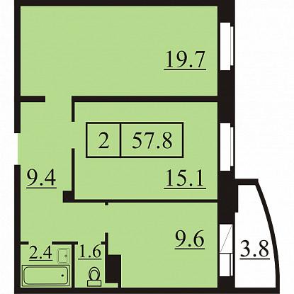 Планировка Двухкомнатная квартира площадью 57.8 кв.м в ЖК «Северная Регата»