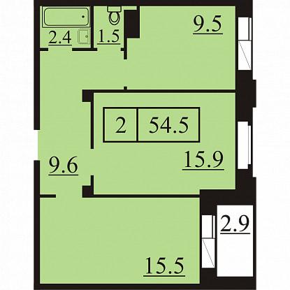 Планировка Двухкомнатная квартира площадью 54.5 кв.м в ЖК «Северная Регата»